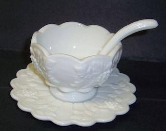 Westmoreland Milk Glass PANELED GRAPE 3 Piece MAYONNAISE Set