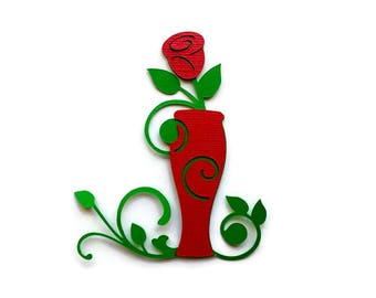 Paper Rose - Anniversary Decor - Red Rose - Anniversary Party - Card Decoration - Vase of Roses - Scrapbook Decor - Card Making - Set of 4