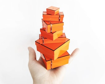 Miniature Orange H Paris Boxes