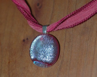 Spring Clear Out Sale Sassy Bright Pink Sparkle Pendant on Silk Ribbon