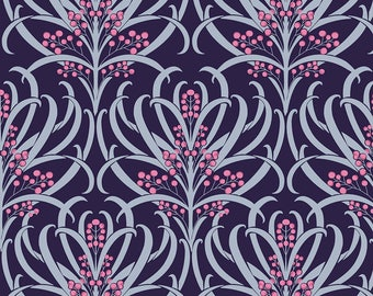 Blue Upholstery Fabric, Floral Print, Quilting Fabric, Cotton Material, Crafting, Poly Crepe Satin Fabric, Fabric By The Yard, MIN-FL26P