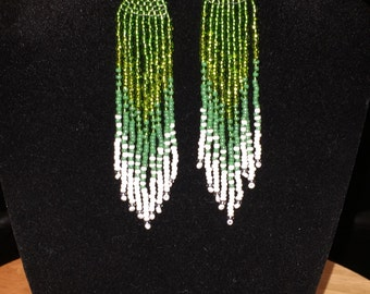 Ombre green dangle earrings