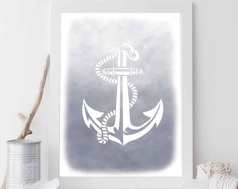 Grey Anchor, Grey Print, Grey Nautical Print, Grey Decor, Anchor Print, Anchor Prints, Anchor Art, Beach Art, Nautical Wedding Decor