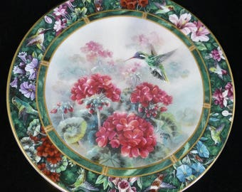 The White Eared Hummingbird – Lena Liu Hummingbird Treasury - Plate 5  - W S George Collector's Plate Series - Display Plate