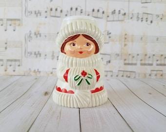 Vintage Avon Christmas Girl Candle Holder