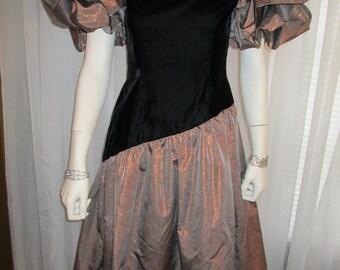 Now on Sale----1980's MORTON MYLES For The Warrens Black Velvet and Copper/Black Check Dress