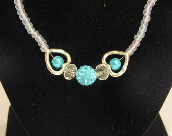 Teal heart crystal necklace