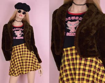 90s Brown Plush Cropped Jacket/ Small/ 1990s