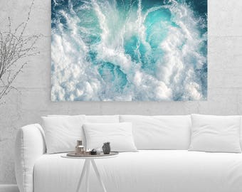 Teal Blue Abstract Canvas Large Canvas, XXL, Seascape, Extra large wall art, Teal, Blue, Canvas, Extra large, livingroom decor, home decor