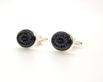 Black and Silver Cufflinks, Black and Silver Intaglio Oval Vintage Glass Cufflinks