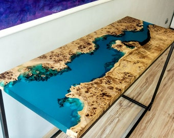 Entry river table with epoxy inlay, console river table