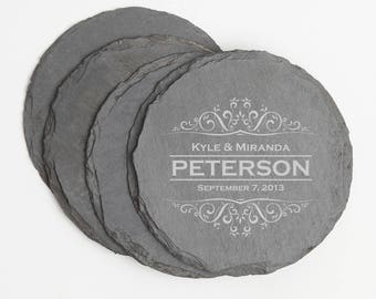 Personalized Slate Coasters, Custom Engraved Slate Coaster, Personalized Coaster, Personalized Wedding Gift, Housewarming, Bridal Gifts D7