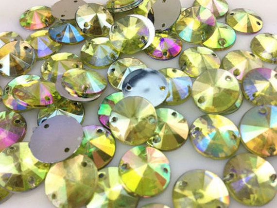 Yellow AB Round Flat Back Pointed Sew On Rivoli Resin Rhinestones Embellishment Gems C13