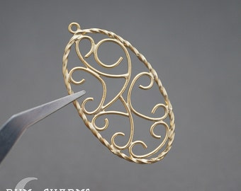 0195 - Pendant Connector, Matte Gold Plated, Twisted Floral Oval Pendant, 2 Pieces