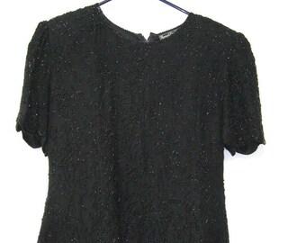 Vintage en soie noir perlé Blouse formelle Glam Top femmes L
