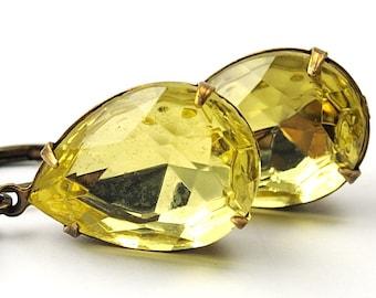 Estate Style Lemon Yellow Glass Earrings Jonquil Teardrop Dangle Drops Vintage Jewel Earrings Antiqued Brass Gift for Mom Wife Girlfriend