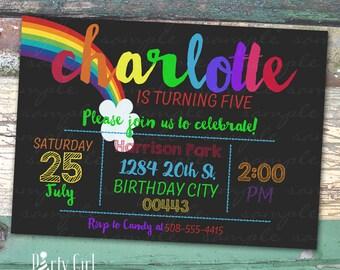 Rainbow Birthday Chalkboard Personalized Printable Birthday Invitation Print at Home