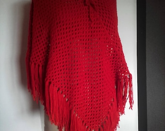 shawl  red  knitted hand made