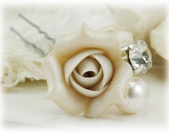 White Ivory Rose Bud Crystal Pearl Hair Pin - White Flower Bridal Hair Accessories