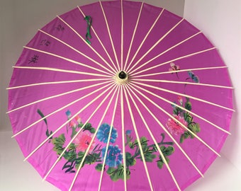 Hand Painted Parasol, Vintage Asian Costume Accessory, Japanese Chinese Decor, Purple Geisha Umbrella, Bamboo Shaft, Stage Photo Prop