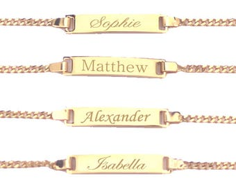 Gold Bracelet, Baby Bracelet, Baby Bracelet Personalized, ID Bracelet, Baby Boy Bracelet, Baby Girl Bracelet