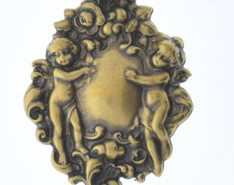 Brass stamping Cherubs  , victorian motif ,  sold by each 04226AG