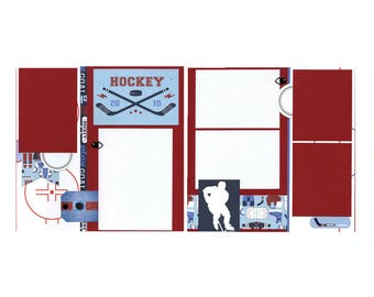 Premade Hockey Scrapbook Page Set - Two 12x12 Pages