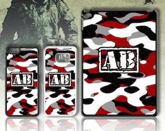 Army Print Initial Phone case Monogram 4 5 6 7 8 X SE 5C Galaxy J5 S5 S7 S8 S9 Plus + Edge Note Mini Z3 Z5 iPad  No.14 Red Black