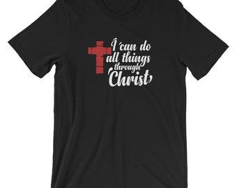 Men's Faith I Can Do All Things Through Christ Christian T-shirt