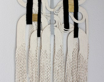 "Macrame Wall Hanging ""blk+gry+wht"" by HIMO ART, One of a kind Handcrafted Macrame, rope art"