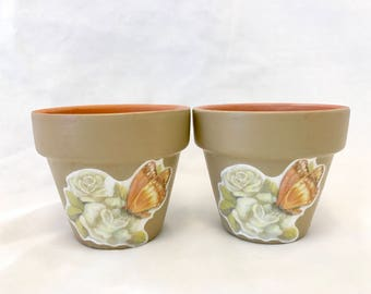 2 Hand painted-Decoupage-Sealed-terra cotta planter pots, succulents, air plants, garden gifts, hostess gifts