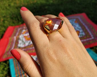 Amber crystal & gold filled ring