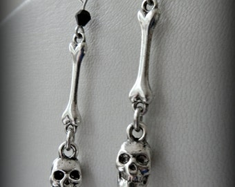Gothic human bone and skull dangle earrings.
