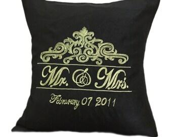 Black Monogram Pillow, Embroidered Monogram Pillow, Mr Mrs Pillows, Wedding Pillow, Customized Gift, Initials Pillow