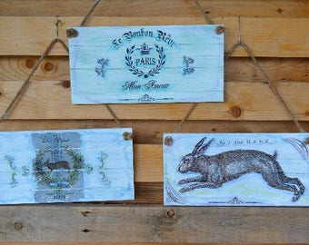 French Country Wooden Garden Signs