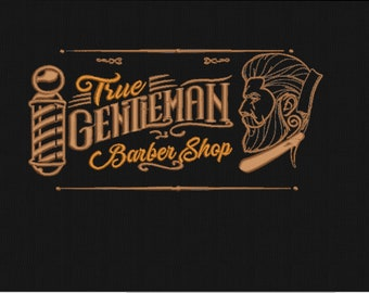 Barber shop embroidery design