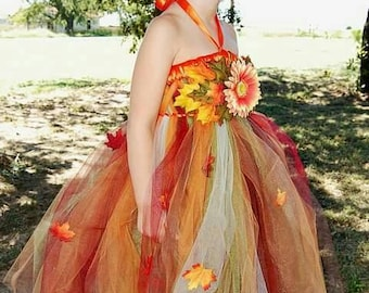 Gorgeous custom autumn tutu dress! For Birthday, Costume, Pageant, Photo Prop, or Flower Girl dress for a wedding. Preemie - 4T