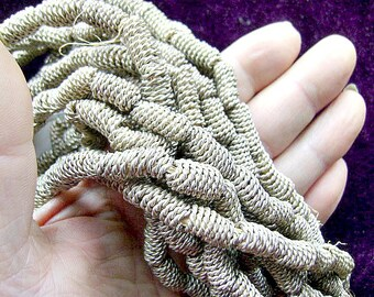 BEADS, BRASS, STRANDS, White, Silver, Coil, Tube, Oval, Ethnic, Tribal