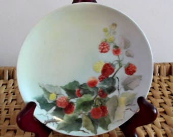 IMPERIAL PSL...6 Inch...Berry Plate...Red and Yellow Berries on a Vine...Artist Signed...1910s...Hand-Painted Porcelain