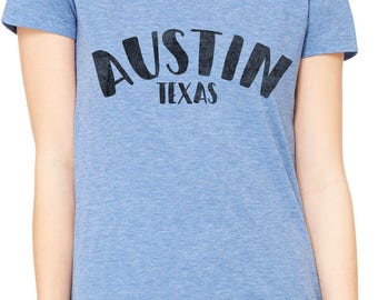 Austin Ink Apparel Slim Fit City of Austin Texas Soft Triblend Short-Sleeve T-Shirt