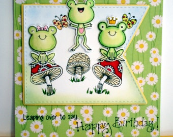 childs birthday card/frogs card