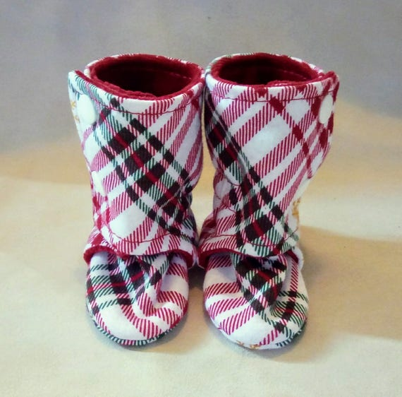 Plaid: Soft Sole Baby Boots 0-3M