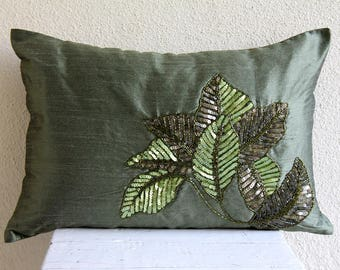 Decorative Oblong / Lumbar Throw Pillow Covers Accent Pillows Couch Pillow Case 12x16 Silk Pillow Cover Sequin Embroidered- All About Leaves