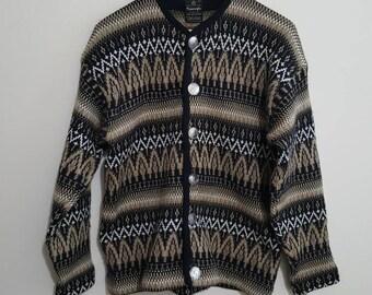 Vintage Cardigan sweater,Norvyk, pure virgin wool, by Ren-Dale