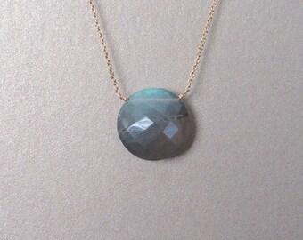 Labradorite Coin Gemstone Necklace - Gemstone Necklace - Gold Necklace
