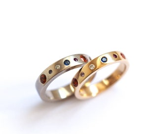 Planet Ring, Precious Ring, 9ct Yellow or White Gold Solar System Ring, Handmade Planet Band, Eternity Band, Brighton uk