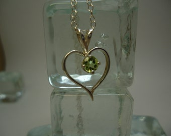 Round Cut Peridot Heart Necklace in Sterling Silver   #1062