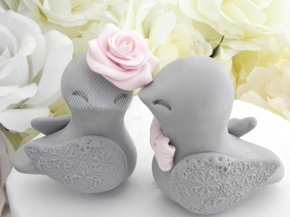 Love Birds Wedding Cake Topper, Grey and Blush Pink, Bride and Groom Keepsake, Fully Customizable