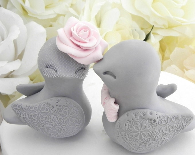 Love Birds Wedding Cake Topper, Gray and Blush Pink, Bride and Groom Keepsake, Vintage Wedding