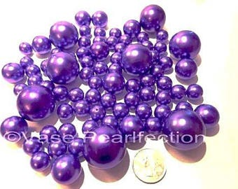 All Purple Pearls- Jumbo/Assorted Sizes Vase Fillers for Centerpieces